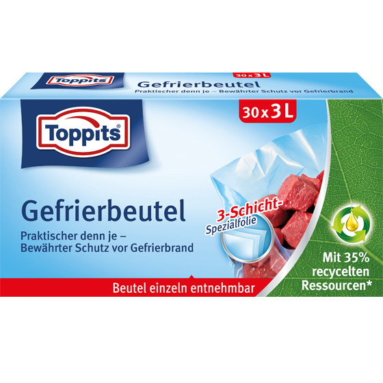 Toppits® Gefrierbeutel Standboden 3L