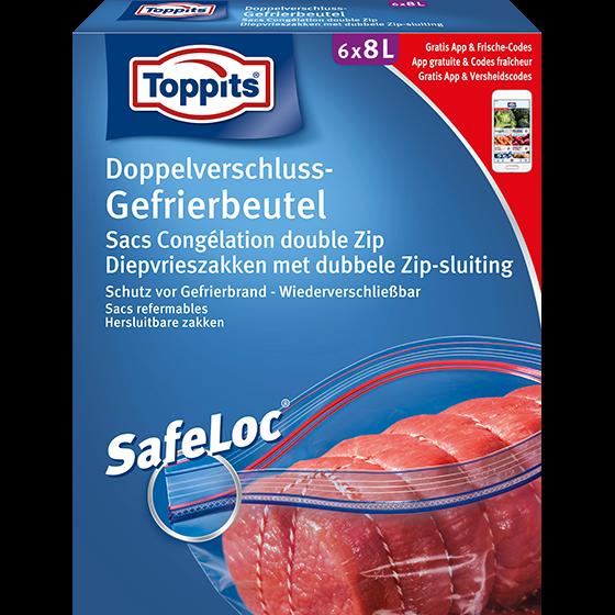 Toppits® Doppelverschluss-Gefrierbeutel 8l