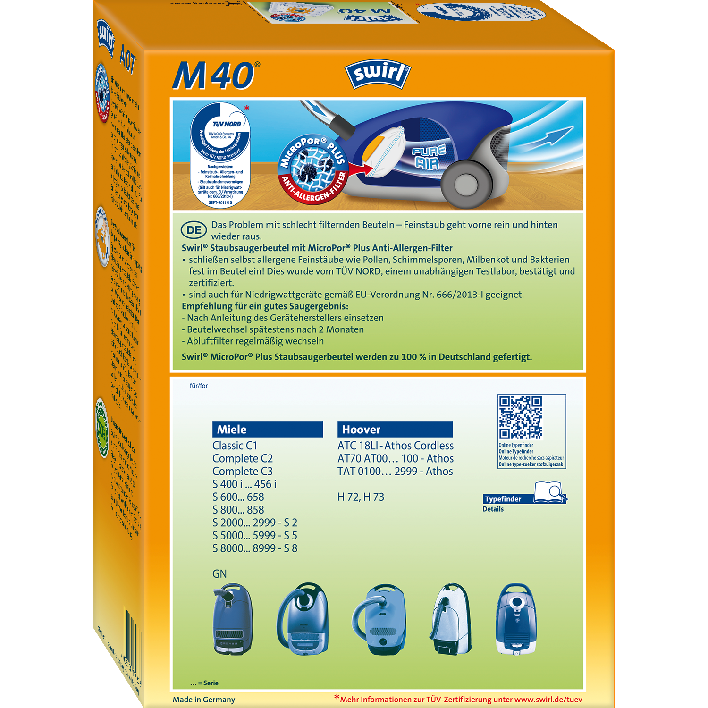 Swirl M 40 MicroPor Plus Staubsaugerbeutel für Miele StaubsaugerAnti-Allergen